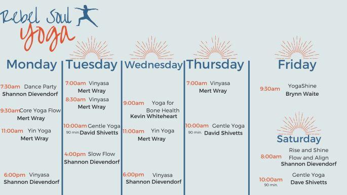 Rebel Soul Yoga Schedule